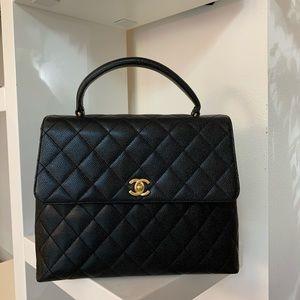 Authentic CHANEL Black Caviar CC Kelly Bag